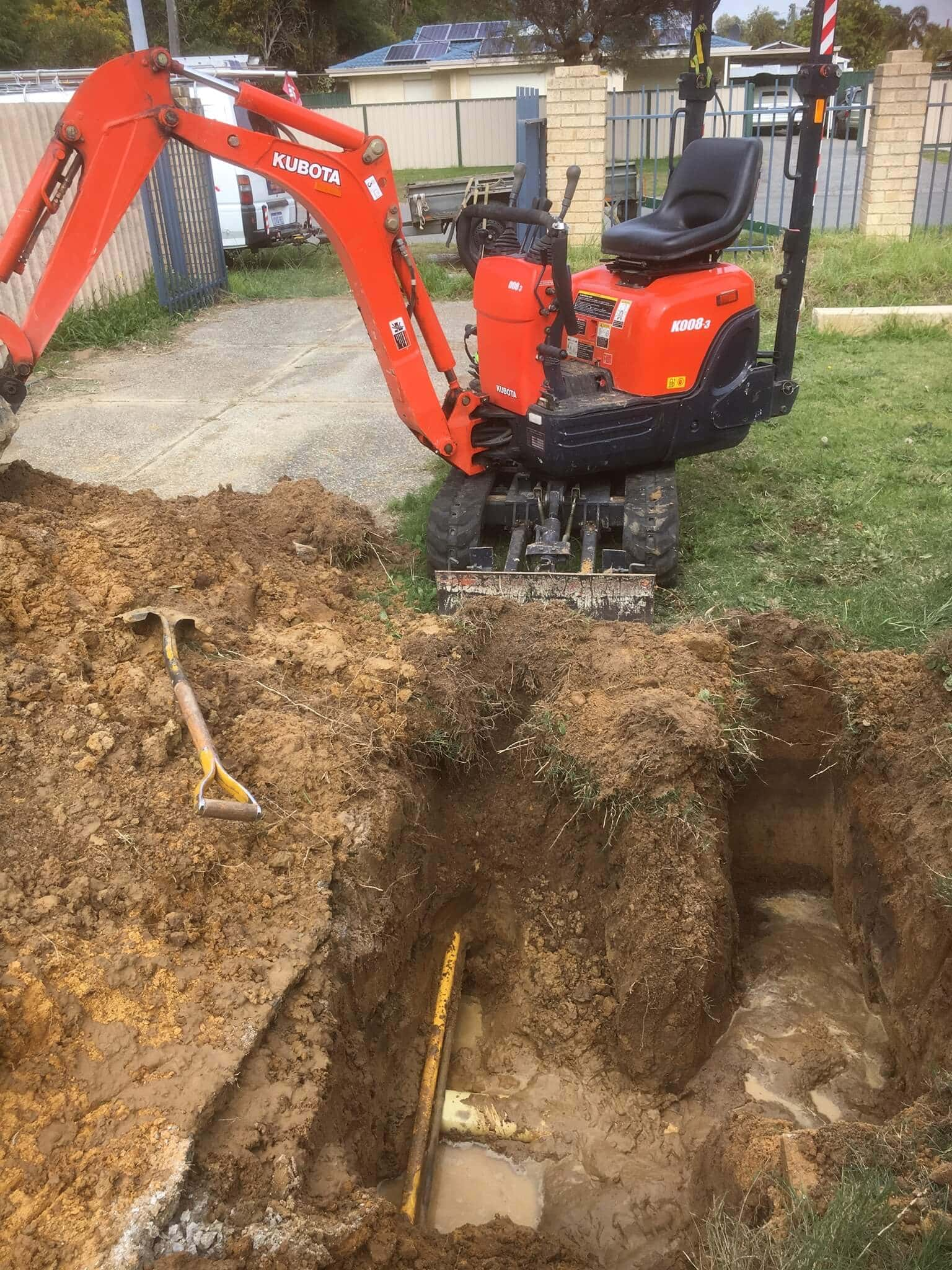 Everyday Plumbers Residential Locating Burst Pipes - Backhoe Digging in Action 2032